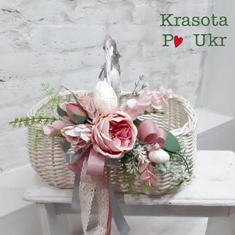 Пасхальная корзинка с декором в цвете темная пудра (чехол или полотенце)