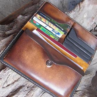 кошелек мужской кожаный,вертикальный кожаный кошелек,именной мужской кошелек