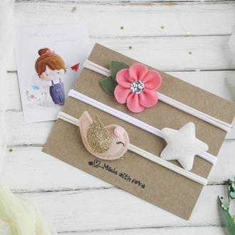 Красивые повязки для девочки / Подарочный набор повязок для малышки на 8 марта