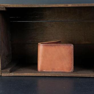 Классическое портмоне с монетницей, Кожаный кошелек, кожа итальянский краст, цвет Коричневый