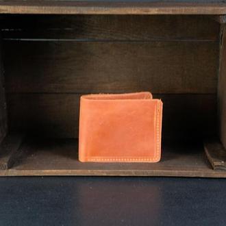 Классическое портмоне с монетницей, Кожаный кошелек, кожа Crazy Horse, цвет Коньяк