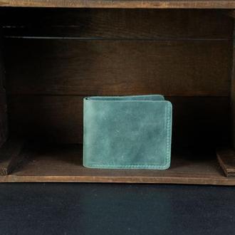 Классическое портмоне с монетницей, Кожаный кошелек, кожа Crazy Horse, цвет Зеленый