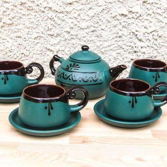 Чайный наборная 4 лица зеленый