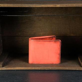Классическое портмоне с монетницей, Кожаный кошелек, кожа итальянский краст, цвет Красный