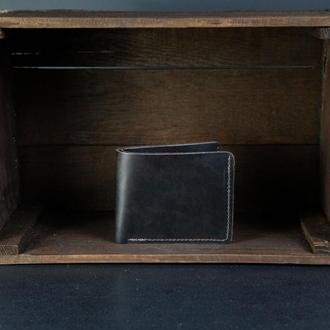 Классическое портмоне с монетницей, Кожаный кошелек, кожа итальянский краст, цвет Кофе