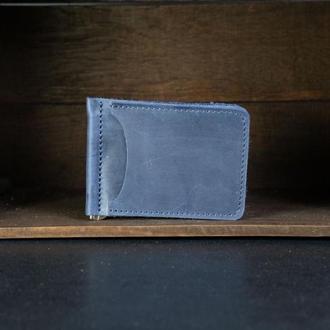 Зажим для денег Винтажная кожа цвет Синий