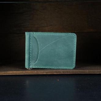 Зажим для денег Винтажная кожа цвет Зеленый