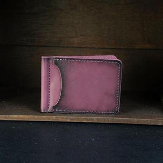 Зажим для денег Кожа Итальянский Краст цвет Бордо