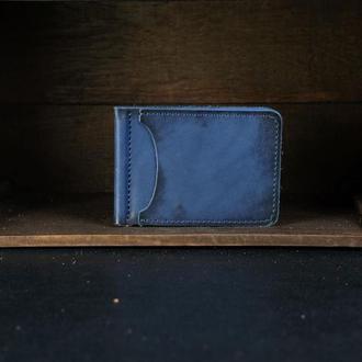 Кожаный зажим для денег, кожа итальянский краст, цвет Синий