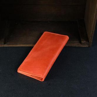 Кожаный кошелек, Лонг на 4 карты, кожа Crazy Horse, цвет Красный