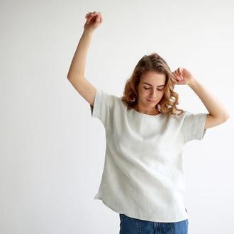 Льняная свободная блуза футболка топ с росписью или без