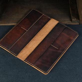 Кожаный кошелек, Лонг на 4 карты, кожа итальянский краст, цвет Вишня