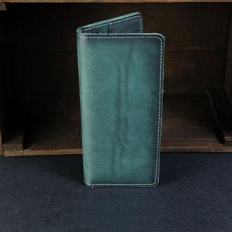 Кожаный кошелек, Лонг на 4 карты, кожа итальянский краст, цвет Зеленый