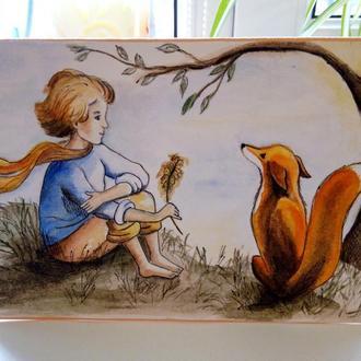 """Открытка ручной работы """"Маленький принц и лис"""""""