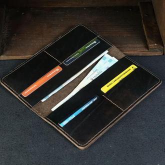 Кожаный кошелек, Лонг на 4 карты, кожа итальянский краст, цвет Кофе