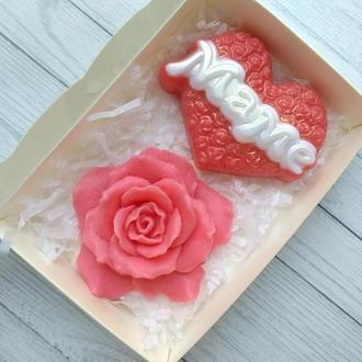 Сувенирное мыло: набор для мамы: сердечко Маме и роза