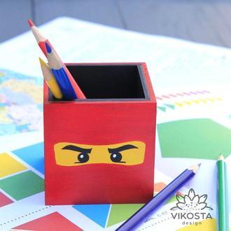 Карандашница Lego Ninjago Kai, органайзер для канцелярских принадлежностей Лего Ниндзяго Кай