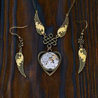 Движение времени - набор украшений в стиле стимпанк (в наличии 1 набор)