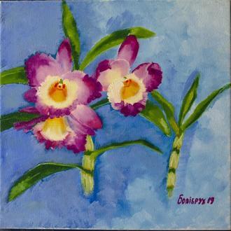 Орхидеи, масло,холст,лак,30*30