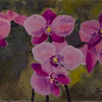 Орхидеи, масло,холст,лак,20*40