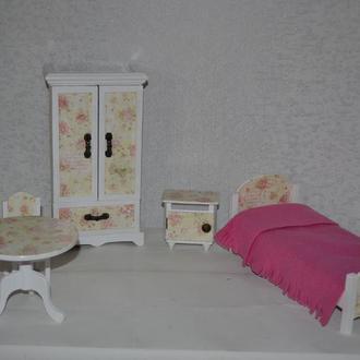 Мебель для кукол Гарнитур для спальни Белый с розами