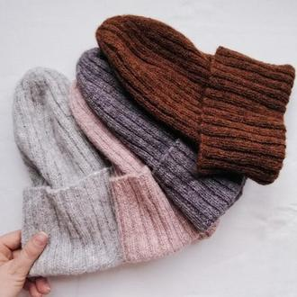 Шапка из альпаки, шапка с натуральным составом, мягкая шапка, демисезонная шапка, подарок девушке