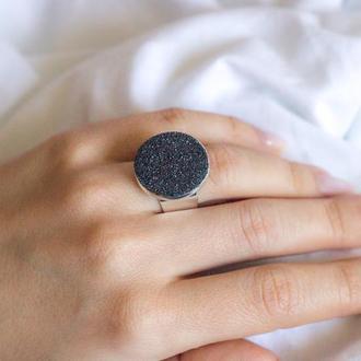 Перстеник з гематитом - серый природный камень - кольцо безразмерное - универсальный размер