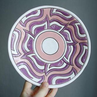 Тарелка керамическая ручной работы диаметр 22 см