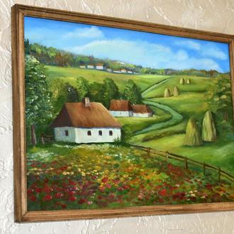 Красота пейзажа,живопись в раме,размер 30х40см