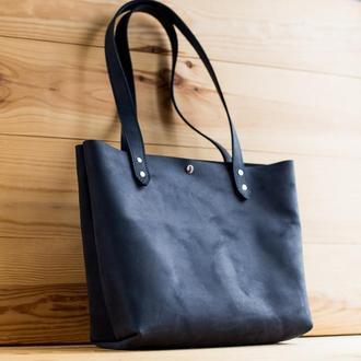 Сумка шоппер из натуральной кожи Simplicity синяя