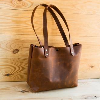 Сумка шоппер из натуральной кожи Simplicity коричневая