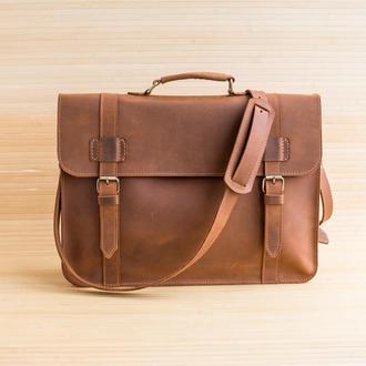 Портфель из натуральной кожи Ambassador коричневый