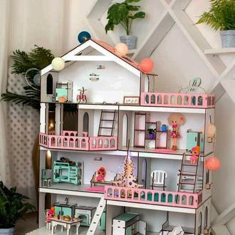 Кукольный домик ′Большой особняк для кукол ЛОЛ′ и мебель 9ед.