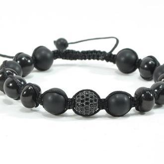 Мужской браслет  с натуральными камнями в стиле Шамбала