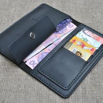 Оригинальное черное портмоне ручной работы из натуральной кожи crazy horse K12-0