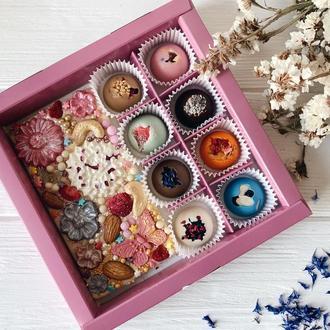 """Набор """"Радужные конфеты и плитка шоколада"""""""