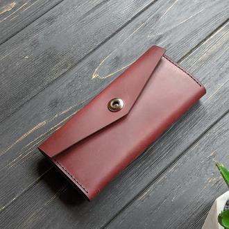 Бордовый женский кошелек из натуральной кожи