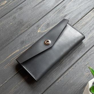 Черный женский кошелек из натуральной кожи