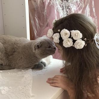 Вінок до першого причастя білі троянди