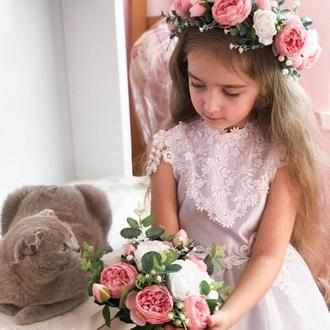 Набір для нареченої вінок та букет рожево-білі троянди