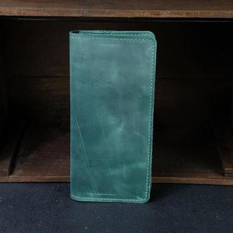 Кожаный кошелек, Лонг на 12 карт, кожа Crazy Horse, цвет Зеленый