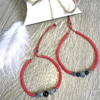 Комплект браслетів-оберегів з агатом
