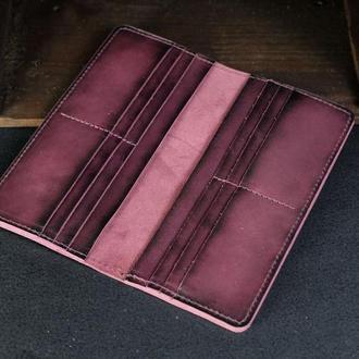 Кошелек женский мужской Гаманець Лонг на 12 карт Кожа Итальянский краст цвет Бордо