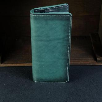 Кожаный кошелек, Лонг на 12 карт, кожа итальянский краст, цвет Зеленый