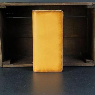 Кожаный кошелек, Лонг на 12 карт, кожа итальянский краст, цвет Янтарь