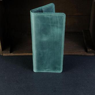Кожаный кошелек, Лонг на 8 карт, кожа Crazy Horse, цвет Зеленый