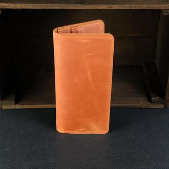 Кожаный кошелек, Лонг на 8 карт, кожа Crazy Horse, цвет Коньяк