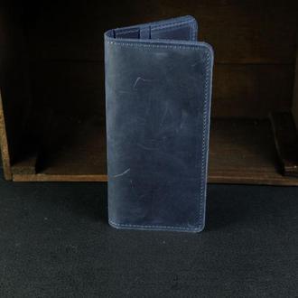 Кошелек Лонг на 8 карт Винтажная кожа цвет Синий