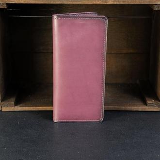 Кошелек женский мужской Гаманець Лонг на 8 карт Кожа Итальянский краст цвет Бордо