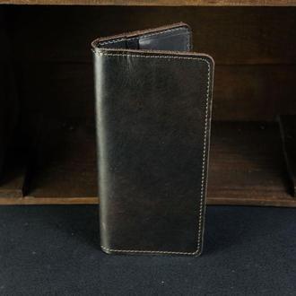 Кожаный кошелек, Лонг на 8 карт, кожа итальянский краст, цвет Кофе